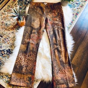 Cache Animal Print Flare Jeans💋